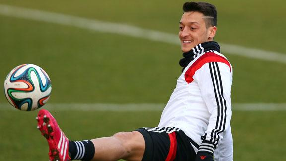 Mesut Özil in action during a training session with his national side Germany.