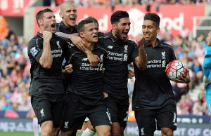 Liverpool players celebrating Coutinho's goal