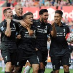 Liverpool Players celebrate heir goal