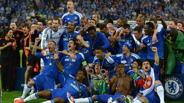 Chelsea celebrating their UEFA Champions League win