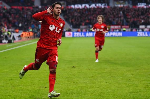 Hakan Calhanoglu during his time at Bayer Leverkusen. (Getty Images)