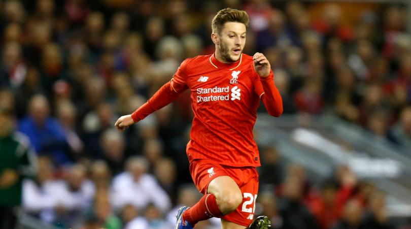 Adam Lallana in action for Liverpool.