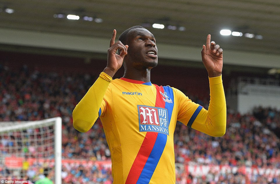 Crystal Palace striker Christian Benteke celebrates after scoring a goal.