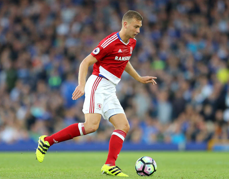Ben Gibson playing for Middlesbrough.