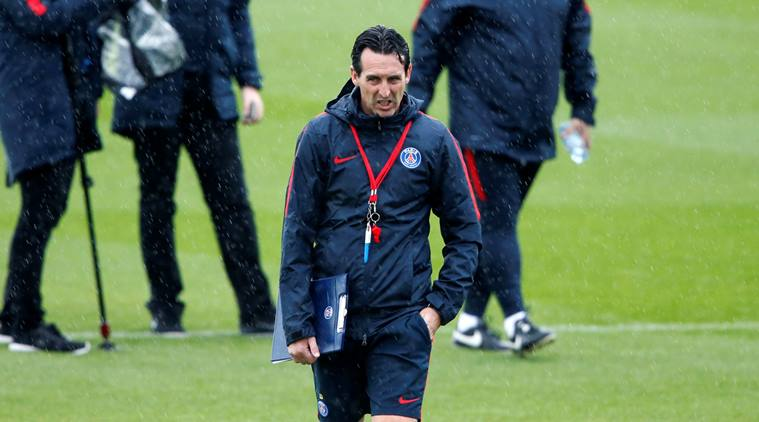 Arsenal coach Unai Emery looks a busy man.