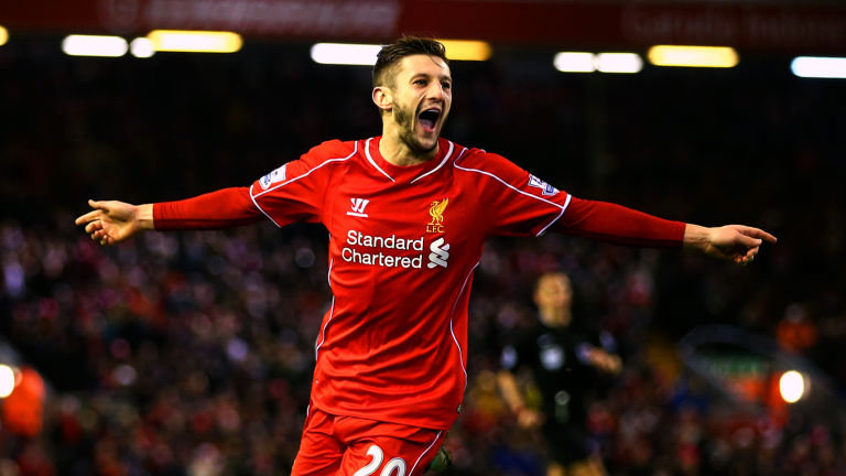 Lallana seen celebrating after scoring a goal for Liverpool.