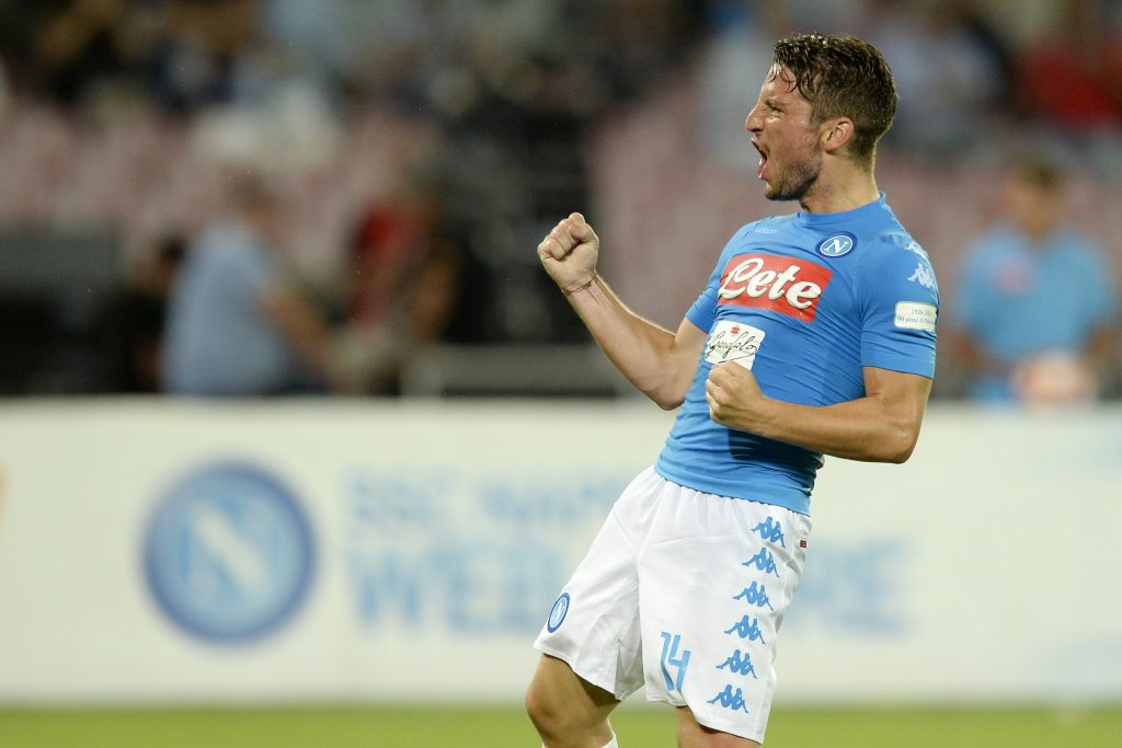 Napoli forward Dries Mertens celebrates after scoring. (Getty Images)