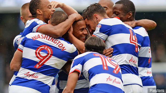 QPR players celebrate after scoring. (Getty Images)