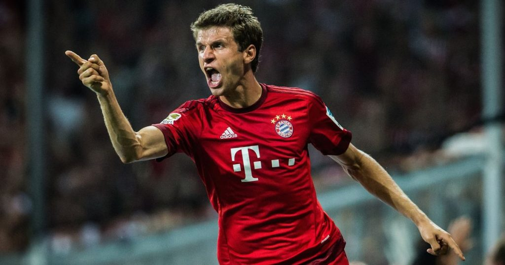 Bayern Munich forward Thomas Muller pumped up after scoring. (Getty Images)
