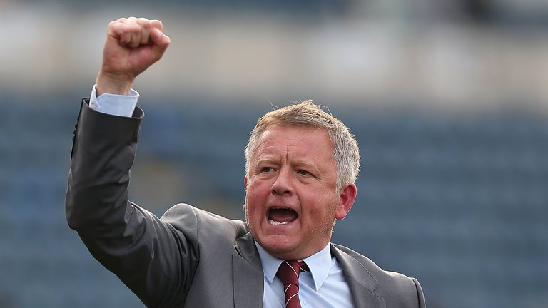 Sheffield United boss Chris Wilder celebrates a win. (Getty Images)