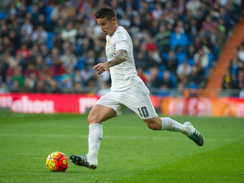 James Rodriguez playing for Real Madrid.