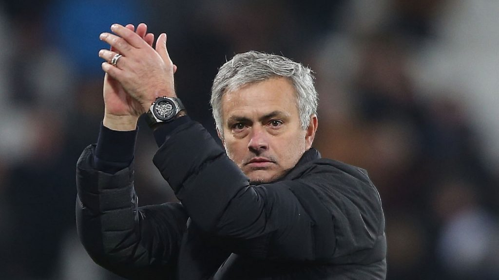 Tottenham boss Jose Mourinho seen applauding the crowd.