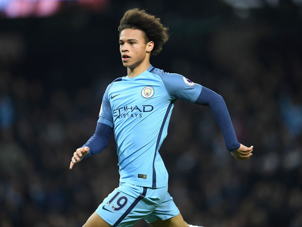 Leroy Sane playing for Manchester City.