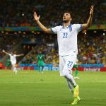 AndreasSamaris celebrates after scoring for Greece. (Getty Images)