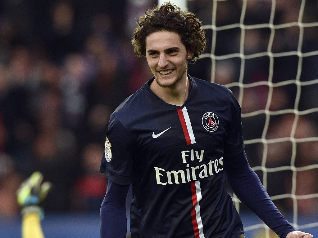 Adrien Rabiot celebrates after scoring for PSG. (Getty Images)