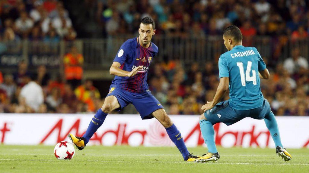 Sergio Busquets in action for Barcelona in La Liga.