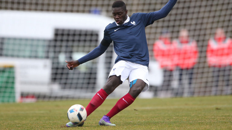 Upamecano playing for the French national side.