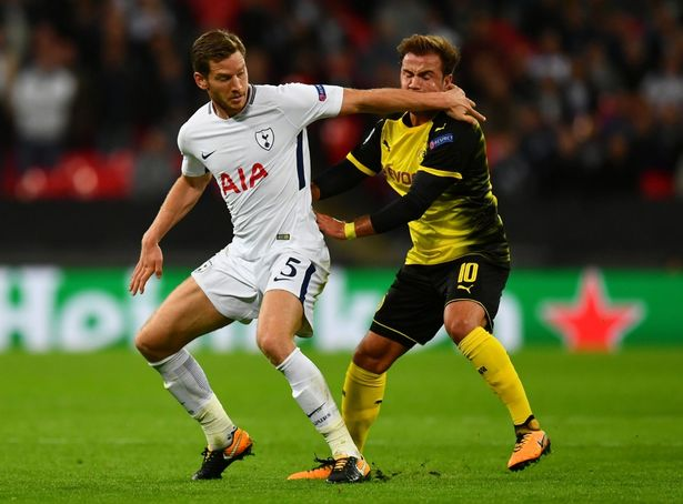 Vertonghen in action for Tottenham during a Champions League encounter against Borussia Dortmund sometime back.