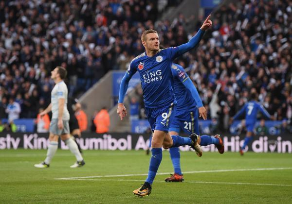 Vardy celebrates after scoring a goal in the premier league.