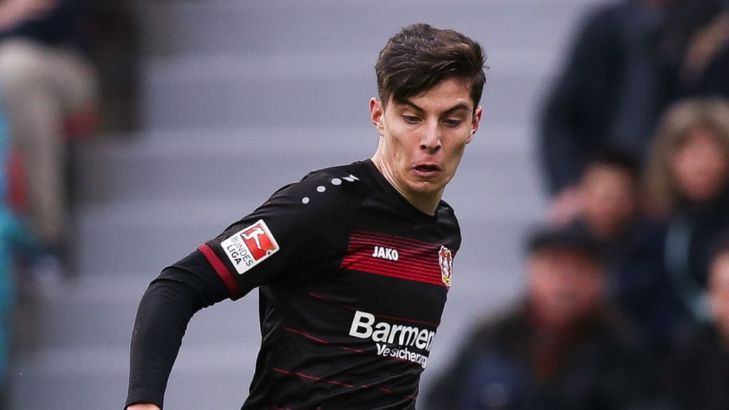 Kai Havertz in action for Bayern Leverkusen.