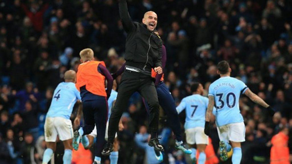 An ecstatic Pep Guardiola after winning the Premier League title last season.