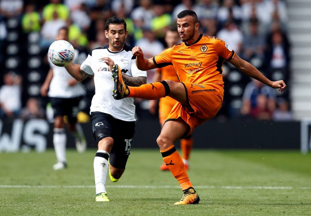 Defender Romain Saiss (right) while playing for Wolves.