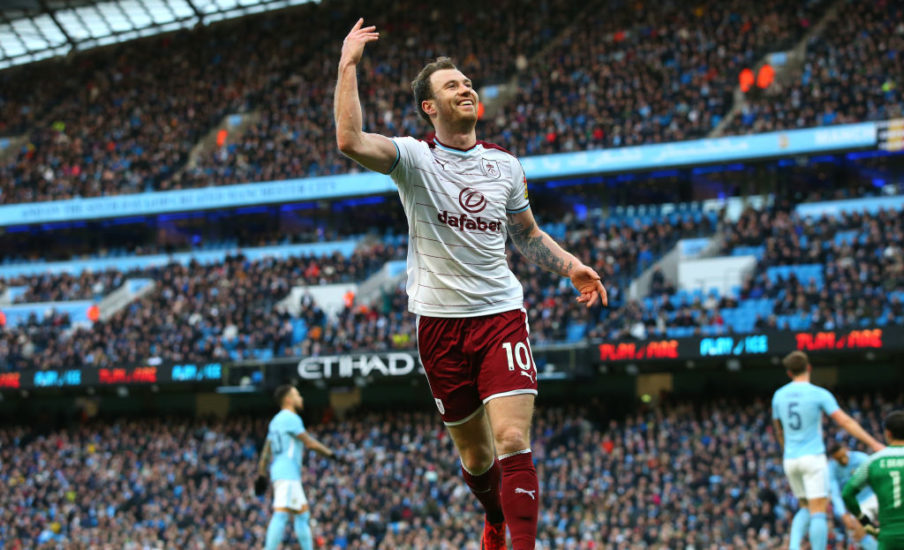 Ashley Barnes celebrating his goal against Manchester City