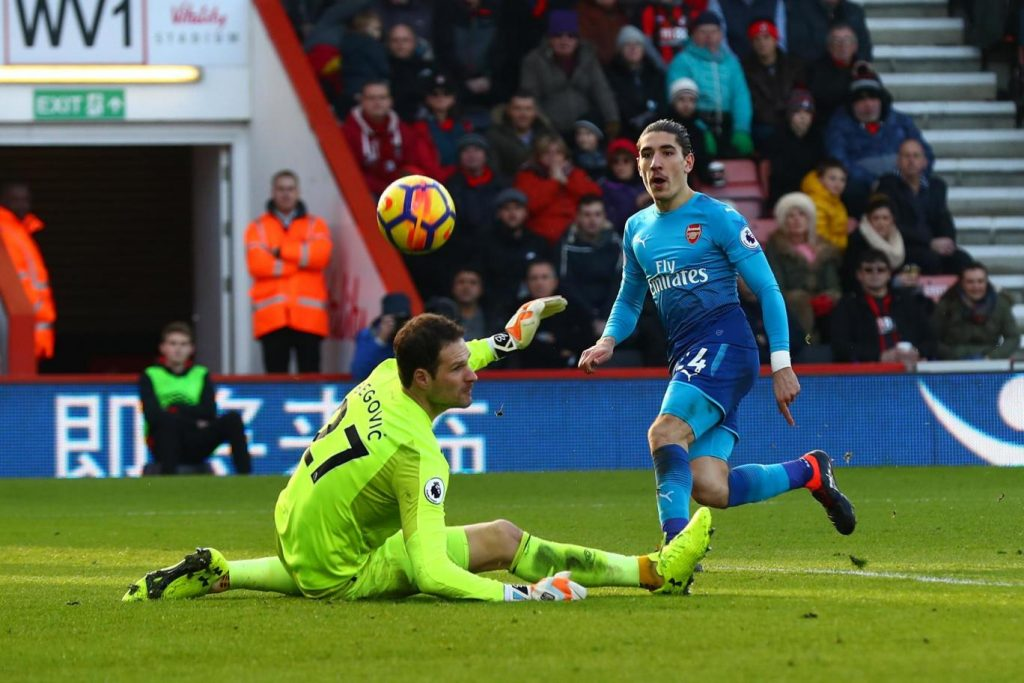 Bellerin playing for Arsenal.