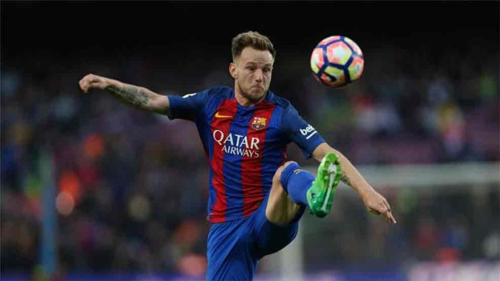 Rakitic in action for Barcelona.