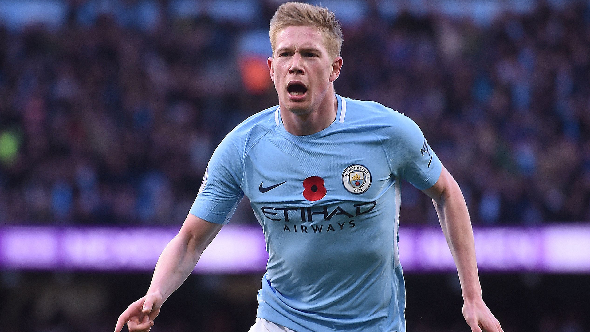Manchester City midfielder Kevin de Bruyne celebrates a goal. (Getty Images)