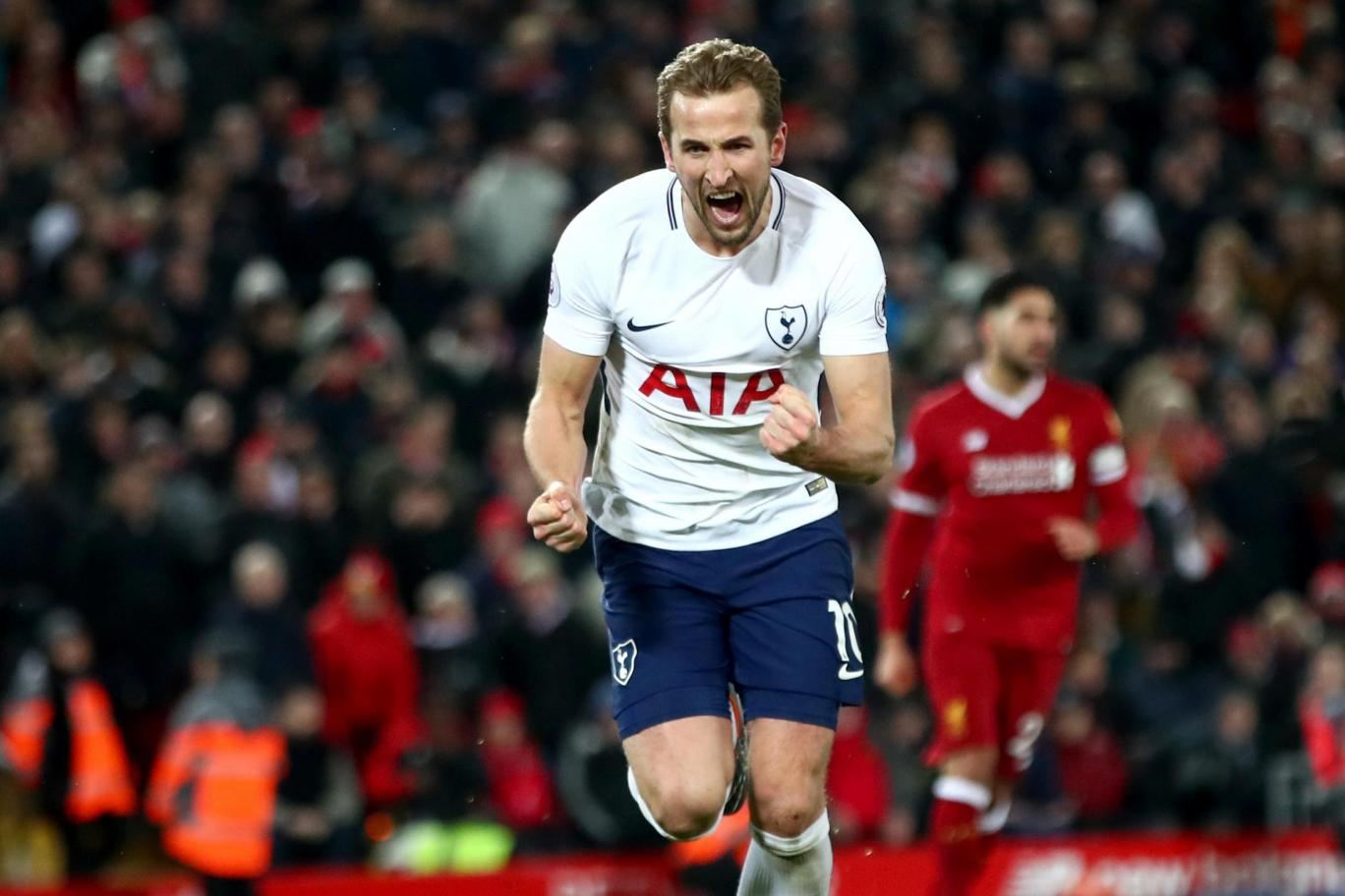 Tottenham striker Harry Kane celebrates after scoring against Liverpool at Anfield. (Getty Images)