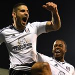 Fulham striker Aleksandr Mitrovic celebrates with Ryan Sessegnon after scoring against Sheffield United. (Getty Images)
