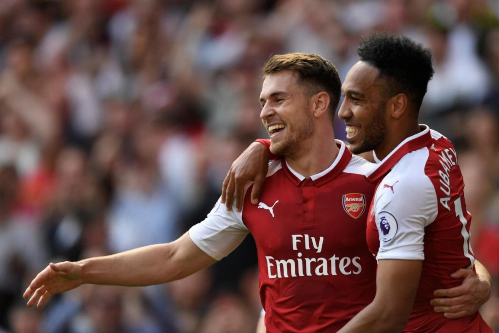 Aaron Ramsey and Pierre Emerick Aubameyang (right) while playing for Arsenal.