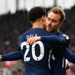 Tottenham's Dele Alli and Christian Eriksen celebrate a goal. (Getty Images)