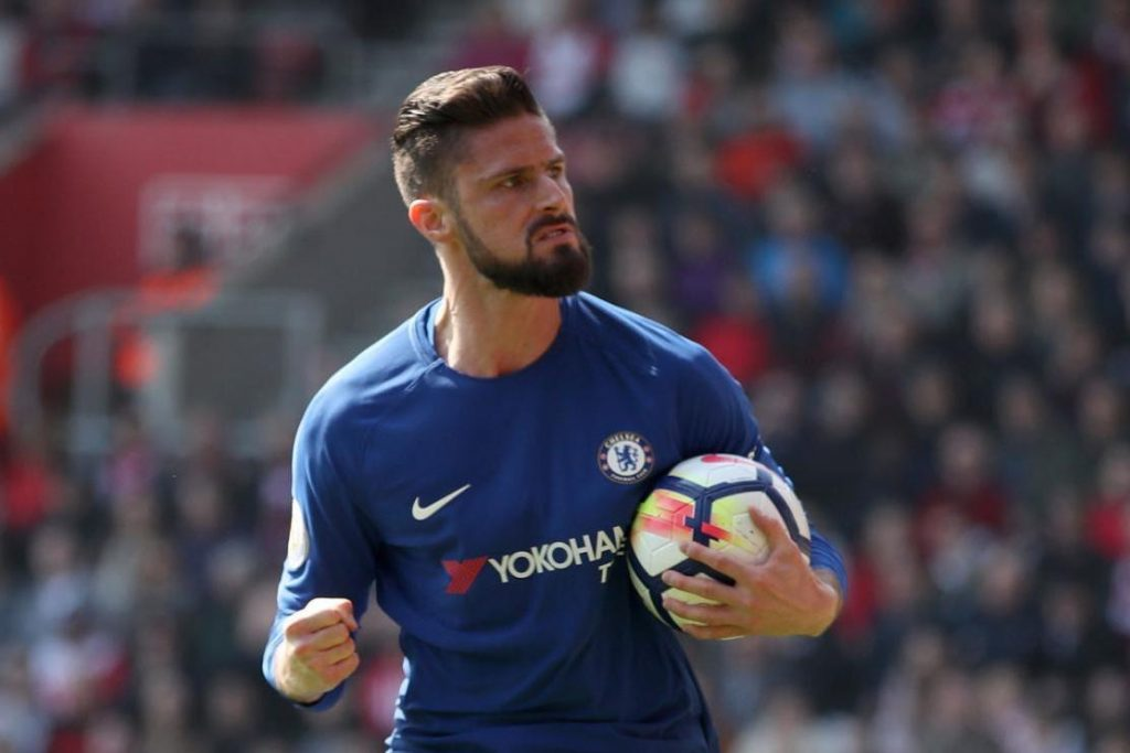 Chelsea striker Olivier Giroud celebrates after scoring against Southampton. (Getty Images)