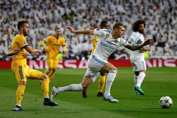 Kroos in action for Real Madrid against Juventus during a Champions League match.