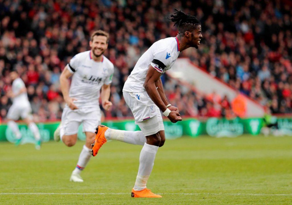 Zaha celebrating his goal in the premier league.