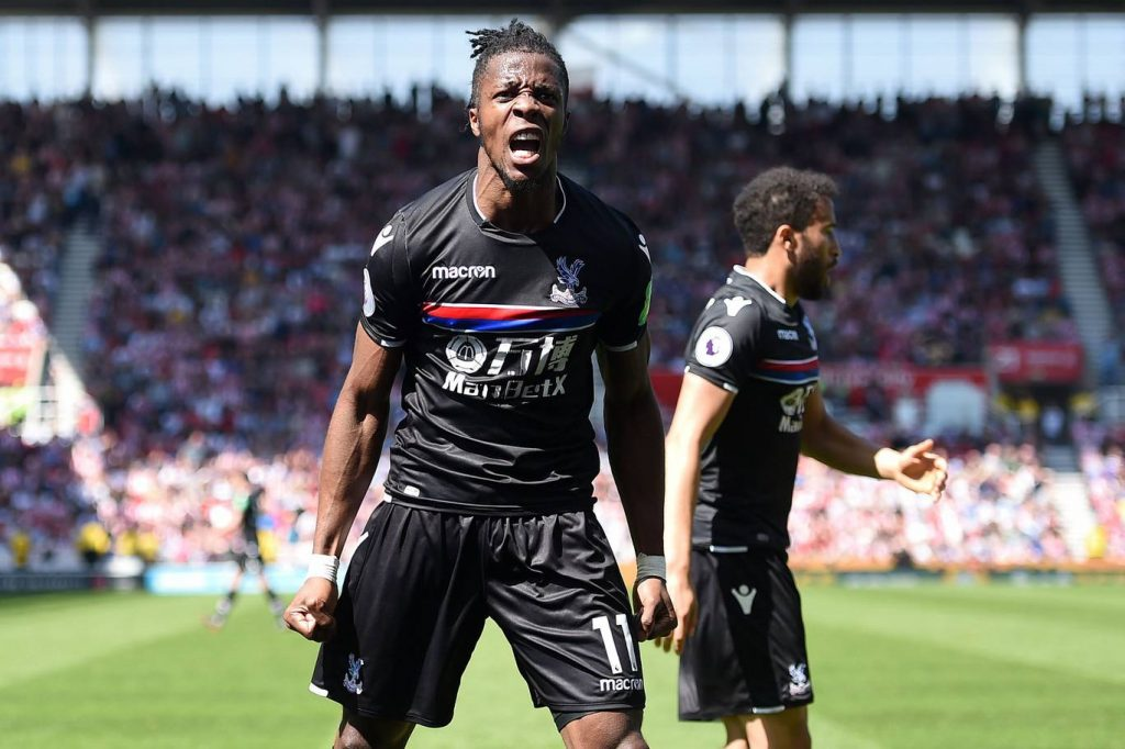 Crystal Palace forward Wilfried Zaha celebrates after scoring. (Getty Images)