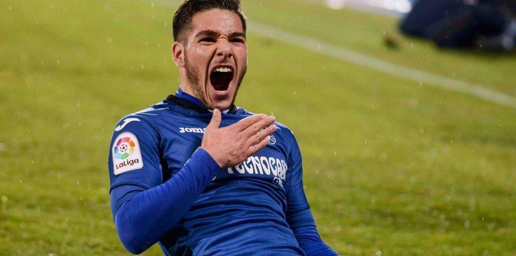 Emiliano Buendia celebrates after scoring for Getafe. (Getty Images)