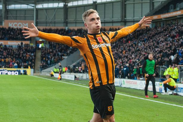 Jarrod Bowen celebrates after scoring a goal in the Championship.