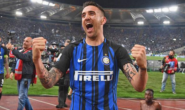 Inter Milan midfielder Matias Vecino celebrates after scoring. (Getty Images)
