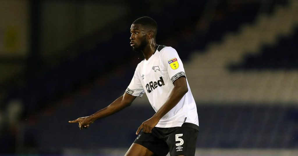 Tomori in action during his days with Derby County.