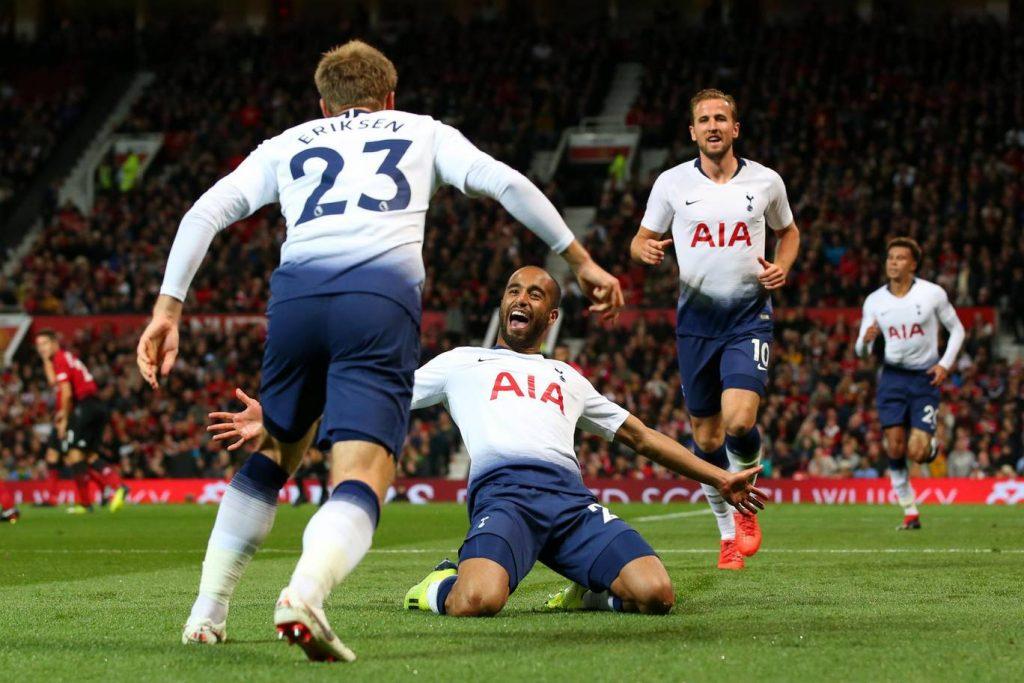 Tottenham's Lucas Moura celebrates after scoring a goal.