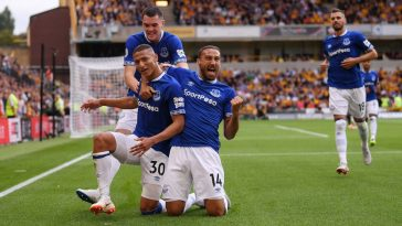 Richarlison celebrates with his Everton teammates after scoring. (Getty Images)