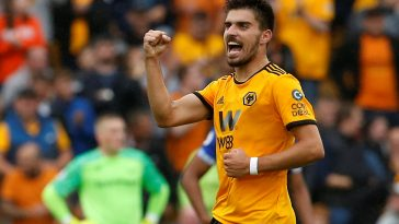 Ruben Neves celebrates after scoring for Wolves. (Getty Images)