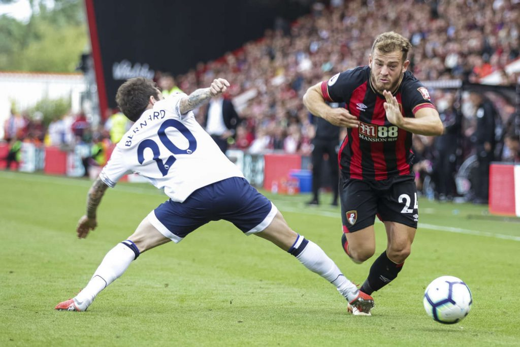 Bournemouth's Ryan Fraser skips past Everton's Bernard at the Vitality Stadium. (Getty Images)