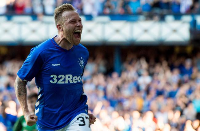Rangers midfielder Scott Arfield celebrates after scoring. (Getty Images)