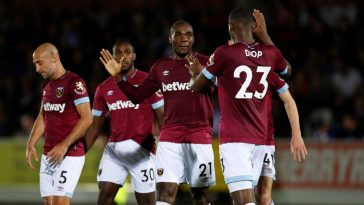 West Ham players celebrating a goal. (Getty Images)