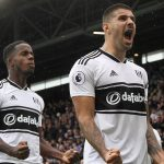 Fulham striker Aleksandar Mitrovic celebrates after scoring. (Getty Images)