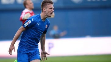Dinamo Zagreb's Dani Olmo celebrates after scoring goal. (Getty Images)